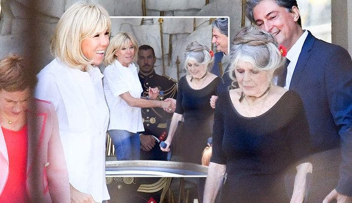 16b58096144e1e Brigitte Macron  French First lady beamed as she chatted with ...