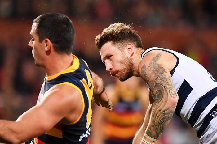 Taylor Walker Reported For High Bump On Geelong S Zach Tuohy Cairns Post